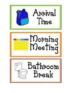 These daily schedule cards are great for a preschool, Pre-K, or Kindergarten classroom. Included in the PDF file are the following schedule cards:-Arrival Time-Morning Meeting-Bathroom Break-Breakfast-Outside Playtime-Large Group Time-Small Groups-Centers-Rest Time-Snack Time-Story Time-Lunch-Closing Activity-Music and Movement