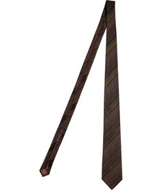 Brown/Olive Fine Striped Silk Tie