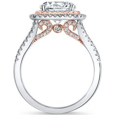 18k Two Tone Natalie K Le Rose Collection Two Toned Double Halo Pave Diamond Engagement Ring