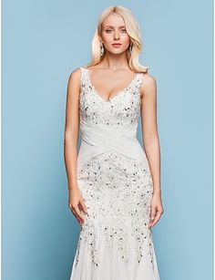 Wedding Dress Trumpet Mermaid Court Train Chiffon V Neck With Criss Cross and Beading Appliques – USD $ 199.99