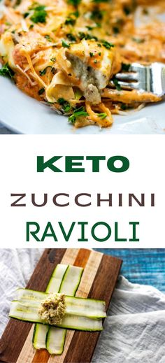 Baked Zucchini Ravioli is a healthy low carb casserole that is perfect for a keto diet! This cheesy gluten free recipe has chicken and ricotta in a delicious creamy sauce. You won't miss the carbs! Keto Recipes Dinner Easy, Gluten Free Recipes For Breakfast, Quick Easy Dinner, Healthy Gluten Free Recipes, Gluten Free Dinner, Healthy Recipes For Weight Loss, Keto Dinner, Healthy Food, Zucchini Ravioli