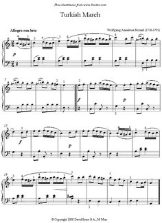 Mozart - Turkish March sheet music for Piano Piano Sheet Music Classical, Easy Piano Sheet Music, Violin Sheet Music, Beginner Piano Music, Music Lessons, Piano Lessons, Mozart, Inspirational Music, Playing Piano