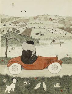 Jean de Brunhoff, aquarelle originale pour Histoire de Babar, le petit éléphantr, p. 20, 1931  New York, Morgan Library