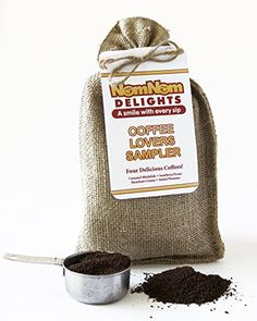 Coffee Gift  Gourmet Coffee Sampler 4 Flavored Coffees Ground  Hazelnut Cream  Caramel Mudslide  Southern Pecan  Sinful Pleasure  Burlap Gift Bag 15 Oz Packets ** Details can be found by clicking on the image.