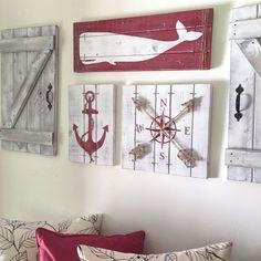 NAUTICAL ART SET of 3 Wooden Nautical Decor by ElevenOwlsStudio