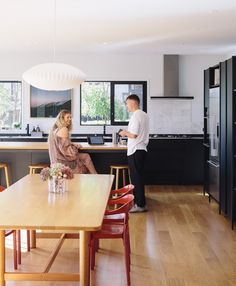 The home of Alexandra Cunningham and Sam Brodie Lean On Me, Kitchen Cabinetry, Wooden Kitchens, Dining, House Styles, Table, Furniture, Kitchen Ideas, River