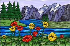 stained glass mountain scenes | Mountain Poppies Decorative Window Film