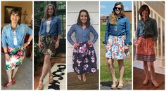 Spring outfit - chambray shirt, floral skirt and bright flats.  #GYPOStyleChallenge
