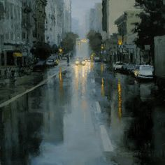 Jeremy Mann - Sutter St. Rain in Blue I would love to have this in my loft.  The mood is just perfect.