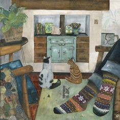 """""""The Warmth of Home"""" Knitted Socks, patchwork blanket, a warm stove and two cat friends to share the moment! Artwork by Rachel Grant Illustration. Rachel Grant, Beautiful Collage, Poster S, Cat Art, Illustration Art, Collage Illustrations, Original Paintings, Arts And Crafts, Techno"""