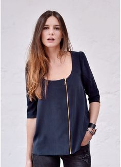 Navy blue top,ziper – New York Fashion New Trends