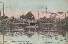 "The ""Y"" bridge at Millbrook Park, New Boston. One of the park's many bridges. Dated 1910"