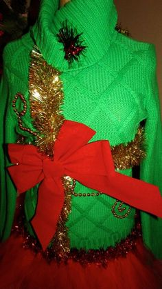 """UGLY CHRISTMAS Sweater Green Present w/TuTu  sz LS 36"""" chest #UglyChristmas #Ugly"""