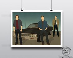 Supernatural - Minimalist Movie Poster by Posteritty #WinchesterBrothers #Supernatural #SamWinchester #MinimalistSupernatural #Fanart #PosterittyPrints  #DeanWinchester
