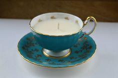Aynsley Upcycled Teacup Candle - Vanilla Soy Wax - Turquoise with Gold Leaf Design by FinerySoaps on Etsy