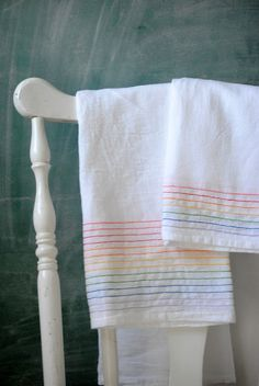 Easy sew rainbow dish towels..perfect summer kitchen towel..I love this look.  I remember everything I liked in the 80s having some sort of rainbow involved: My Little Pony, Strawberry Shortcake, Carebears.  Even SheRa, I think.
