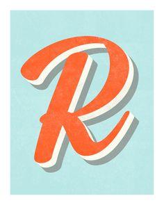 The Letter R Original Art Print Typography by CindyGonzalezStudio, $60.00
