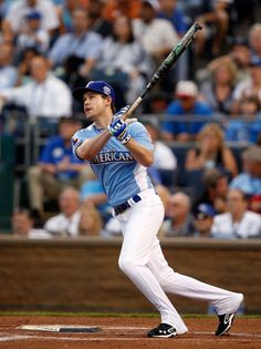 #charity: Chord Overstreet hits a home run in the 2012 Taco Bell All-Star Legends & Celebrity Softball Game at Kansas City's Kauffman Stadium on Sunday July 8, 2012