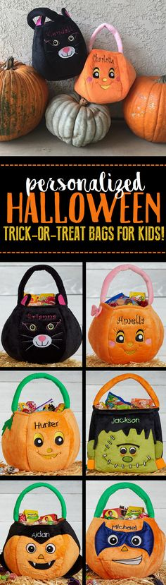 LOVE LOVE LOVE these personalized Halloween Trick-or-Treat Bags for Kids! You can embroider them with any name and they have so many to choose from: black cat, princess tiara, girl pumpkin, boy pumpkin, Frankenstein, super hero pumpkin, Dracula pumpkin and more!