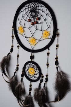 Black Dream Catcher Native American Wall Hanging