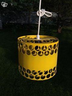Yellow Lival Pendant Lamp (painted metal). Vintage Lights by Finnish LIVAL (formerly Lindströmin Sähkö Oy, Lindströms Elektriska Ab)