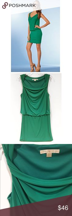 BOSTON PROPER • Blouson cowl sheath dress This is the perfect alternative to the LBD! Done in a rich green, this dress has a billowy bodice accented by twisted shoulder straps. Worn twice Boston Proper Dresses