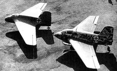 Messerschmitt Me-163 Komet. Me 163 A in front and Me 163 B in the back. The evolution is clear.