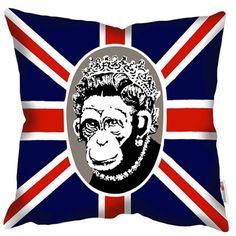 Royal Monkey Graffiti Art Print Cushion