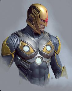 Nova - Concept Art by Sony Santa Monica Art Director, Rafael Grassetti (God of War : Marvel Marvel Avengers, Marvel Girls, Marvel Comics Art, Marvel Comic Books, Marvel Fan, Marvel Characters, Marvel Heroes, Marvel Cartoons, Marvel Comic Character