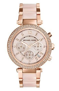 Michael Kors 'Parker' Blush Acetate Link Chronograph Watch, 39mm | Nordstrom