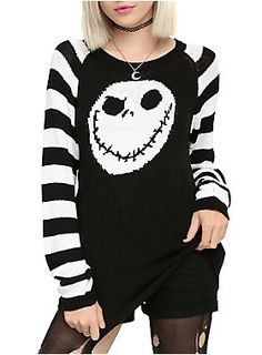 "<p><span id=""webDesc"">Black sweater from <i>The Nightmare Before Christmas</i> with Jack's head on the front and black and white sleeves.</span><span id=""webDescSpan""></span></p>  <ul> <li>100% acrylic</li> <li>Hand wash cold; dry flat</li> <li>Imported</li> <li>Listed in junior sizes</li> </ul>"