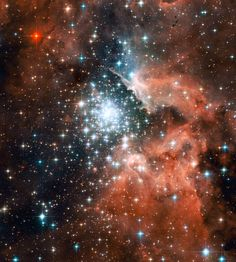 "Thousands of sparkling young stars are nestled within the giant nebula NGC 3603. This stellar ""jewel box"" is one of the most massive young star clusters in the Milky Way Galaxy.  (credit: NASA, ESA, and the Hubble Heritage (STScI/AURA)-ESA/Hubble Collaboration)"