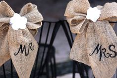 MR AND MRS BURLAP BOWS | Mr. and Mrs. Burlap and Lace Chair Decoration