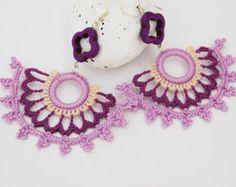 Crochet earrings - Large crochet earrings - Crochet earring jewelry - Purple and lavender- Fan style