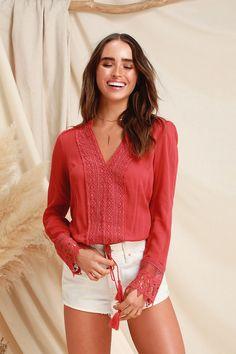cb5fa17973 Lulus | Bali Daydream Rust Orange Lace Long Sleeve Top | Size Small | 100%  Rayon