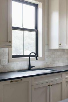 Black Kitchen Countertops, Taupe Kitchen, Stools For Kitchen Island, Kitchen Redo, New Kitchen, Kitchen Design, Black Counter Top Kitchen, Revere Pewter Kitchen, Black Quartz Countertops