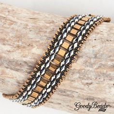GoodyBeads | Blog: black and bronze SuperDuo duets bracelet with Miyuki Tila seed beads