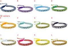 Embroidery Floss Wrapped Woven Friendship Bracelets, 13 Colours, BR-1363