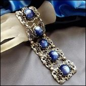 Napier Bracelet RARE Silver Rococo Blue Lucite 1950s Vintage Jewelry