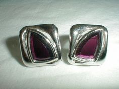 vintage ysl purple crystal earrings clip by qualityvintagejewels, $125.00