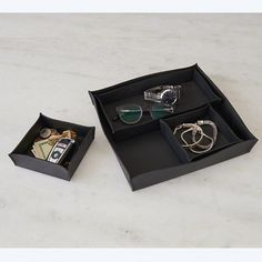 4 Piece Leather Cache Tray Set