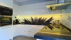 kitchen glass splashback with HQ digital printing directly on glasspanel Decor, Kitchen Cabinets, Glass Splashback, Glass Kitchen, Flat Screen, Digital Prints, Home Decor, Kitchen, Glass