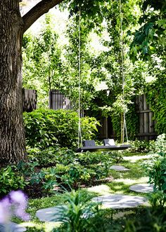 Bluestone pavers lead to a handmade garden swing, tucked into a shady corner. Bluestone pavers lead to a handmade garden swing, tucked into a shady corner. Bluestone pavers lead to a handmade garden swing, tucked into a shady corner. Amazing Gardens, Beautiful Gardens, Beautiful Landscapes, Villa Architecture, Bluestone Pavers, The Secret Garden, Secret Gardens, Victorian Gardens, Victorian Era