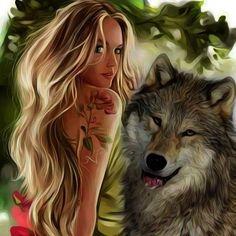 Wolf Images, Wolf Photos, Fantasy Wolf, Fantasy Art Women, Beautiful Wolves, Beautiful Fantasy Art, Evvi Art, Wolves And Women, Comic Book Girl