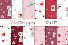 Valentines scrapbooking paper set by MyLittleMeow on @creativemarket