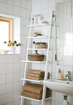 Bathroom furniture IKEA - practical and sensible - Octopus Tattoo - Garden Pot Design - DIY Bathroom - Hairstyle For School - Ideas DIY Jewelry Ikea Bathroom Furniture, Ikea Bathroom Storage, Bathroom Organization, Diy Organisation, Bathroom Ladder Shelf, Bath Storage, Ikea Storage, Ikea Bedroom, Shoe Storage