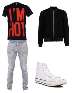 """""""HOT"""" by muamermrkovic ❤ liked on Polyvore featuring Moschino, Dsquared2, Converse, Topman, men's fashion and menswear"""