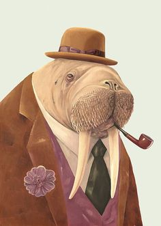 Walrus in suit with pipe and hat.