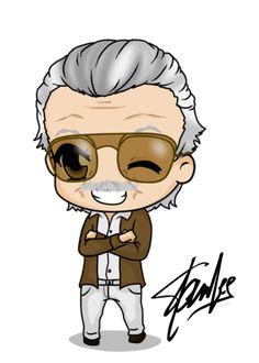 Stan Lee chibi by *Mibu-no-ookami Chibi Marvel, Marvel Art, Marvel Avengers, Marvel Drawings, Cartoon Drawings, Cute Drawings, Marvel Cartoons, Marvel Memes, Stan Lee