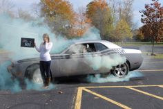 It's a boy!! Gender reveal for a boy, and a husband who loves cars! No smoke bombs needed!